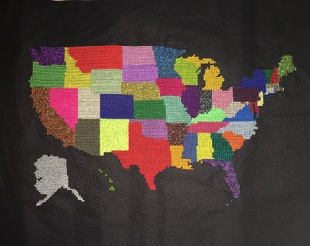 Completed Cross Stitch US Map