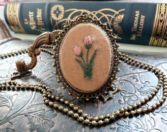 Tulip Embroidered Frame Necklace in Antique Bronze