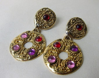 Clip earrings 1980 1990 Cabochons Gems Vintage gold tone