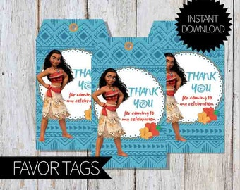 Moana Birthday Party PRINTABLE Favor Tags- Instant Download | Disney| Princess Moana| Luau