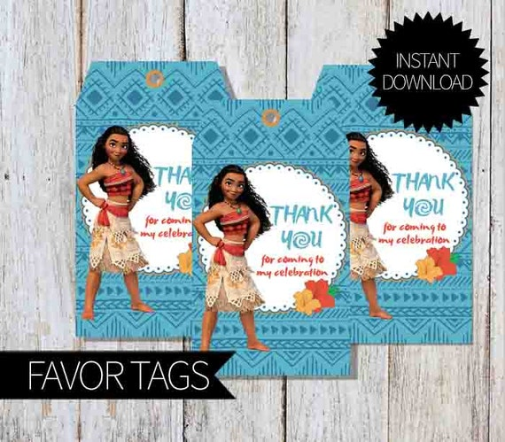 Moana Birthday Party PRINTABLE Favor Tags- Instant Download   Disney ...
