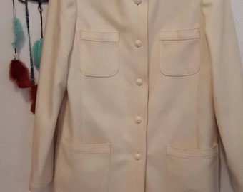 Cream coloured 1980s wool vintage Holt Renfrew jacket