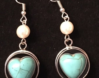 Trendy Silver Interchangeable Snap Earrings with Turquoise Heart Snaps