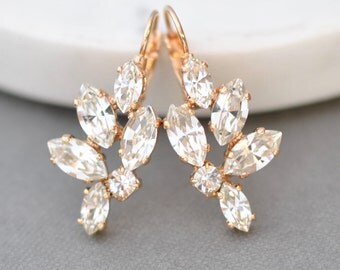 Bridal Earrings Rose Gold Swarovski Crystal White Diamond Leverback Marquise Drop Cluster Earrings Wedding Jewelry Bridesmaid Bride Classic