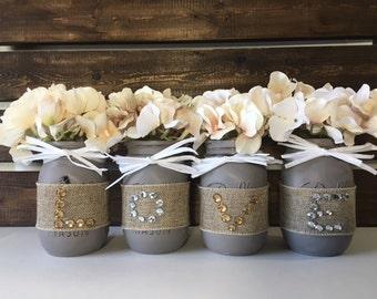 LOVE Mason Jars, Wedding Gift, Wedding Decor, Mason Jars