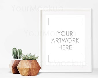 Styled Frame Mockup, Cactus, White Frame Mockup, Scandinavian, Modern, Styled Photography Mockup, Mock-up, Digital Frame, Instant download