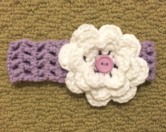 Baby Crochet Headband with Flower - Purple and White