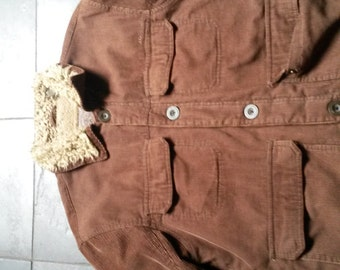 Vintage brown corduroy wool lined jacket size M-L