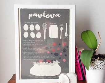 Illustrated recipe art print | Pavlova | Illustrated food | Kitchen art