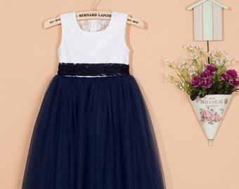 Navy blue flower girl dress / toddler flower girl dress / tulle baby girl dress / lace flower girl dress / navy blue dress for wedding C062