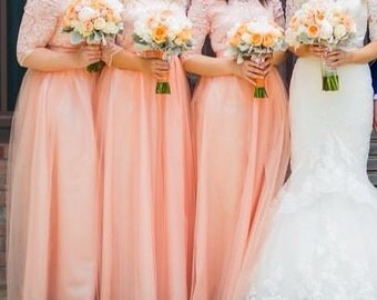 Unique Lace and Tulle Bridesmaids dresses