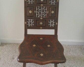 Highly Unique Antique/Collectible Syrian Mother of Pearl Inlayed Chair