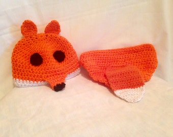 Crochet infant fox hat and diaper cover with tail
