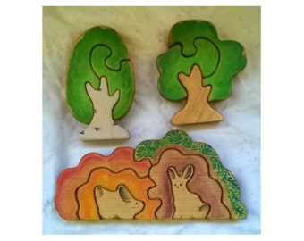 SET: Wooden Bunny In a Bush Stacker + Two Tree Figurines// Puzzle // wooden toys for toddlers// Bunny figurine // Waldorf Toy