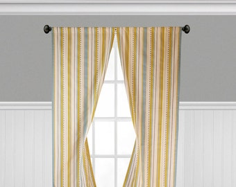 Yellow Blue Gray Curtains Stripe Window Treatments Shabby Chic Home Decor Kitchen Living Room Curtain Panels