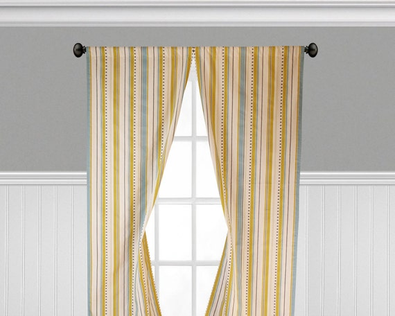 Yellow Blue Gray Curtains Stripe Window Treatments Shabby Chic