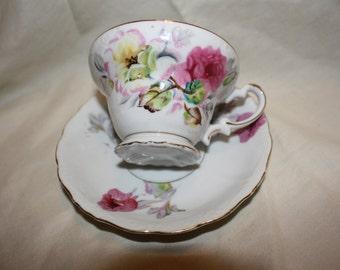 Rose print teacup and saucer