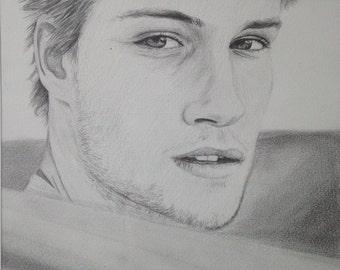 Young man drawing