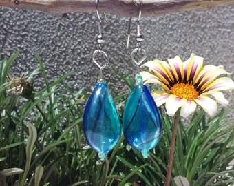 Handmade Blown Glass Beads, Drop, Sky Blue