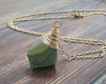 Druzy stone necklace, green, druzy necklace