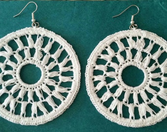 Large Crochet Diana Earrings- White