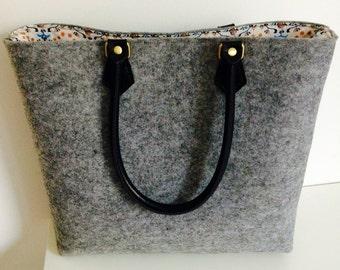Grey felt handbag