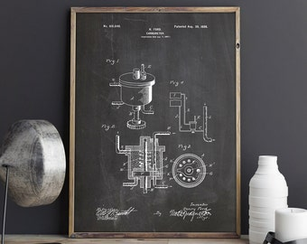 Engine Carburettor, Car Printable, Car Engine Parts, Garage Patent, Industrial Printable, Garage Blueprint, Mechanic Gift, INSTANT DOWNLOAD
