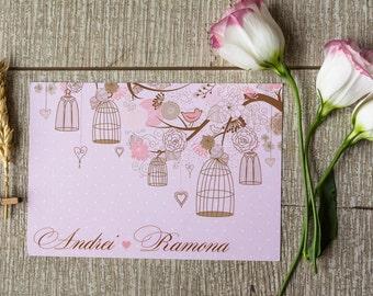 Love birds invitation template/ Vintage /Shabby chic wedding invitation/ Pink invitation