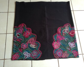 Free shipping, Authentic Mexican mayan skirt, embroidered skirt, mayan costume, handwoven skirt, corte, tablecloth, embroidered fabric, boho