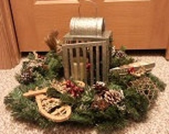 Northwoods Wreath with Tin Lantern
