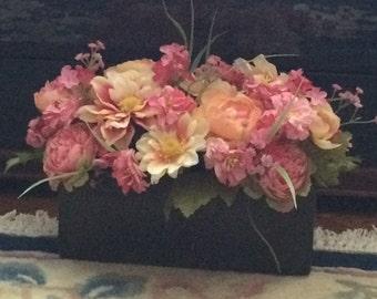 Silk Flower Centerpiece, Mixed Silk Flower Centerpiece, Faux Flower Centerpiece, Silk Flower Arrangement, Faux Flower Arrangement