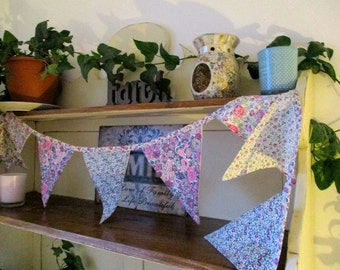 Handcrafted vintage-inspired bunting in stunning Liberty fabrics