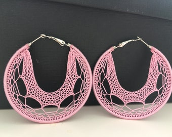 "Crochet hoops 2 1/4"" in pink"