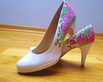Custom Hand painted high heels/ hand painted shoes / wedding shoes - White shoes with pink flowers and green leaves.