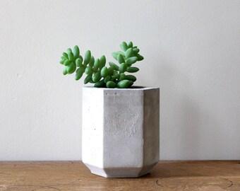 Hexagon Cement Planter perfect for a Cactus or Succulent Plant // Concrete Plant Pot- Handmade