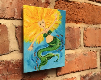 Canvas painting of MERMAID in acrylic and Sharpie 7x5 inch