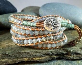 Chan Luu style wrap bracelet. Handmade bracelet in Labradorite. 5-wrap bracelet .