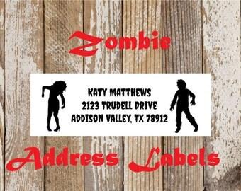 Zombie Address Labels, mailing labels, return address stickers, address labels, address stickers, personal address labels