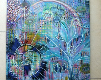 Acrylic painting canvas 50 x 50 x 1.7 intuitive painting pastel modern painting