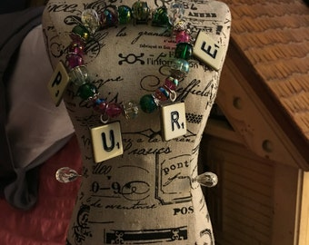 "FREE SHIPPING! US Only. Clearance item: ""Pure"" Scrabble Tile Bracelet"