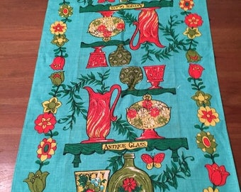 Antique Glass Linen Tea Towel