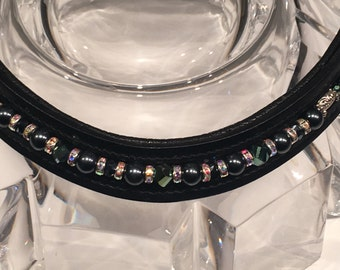 Navy Beaded Browband