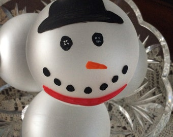 Hand Painted Snowman glass Ornament