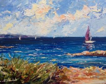 Marine original oil painting on panel - huile originale sur paneau - peinture de marine