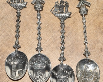 4 Dutch Solid 830 Silver Demitasse Spoons Hallmarked Windmill Ships Souvenir