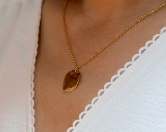 """Necklace """"memory"""", medal gold plated 24 k, french-modern-minimalist"""