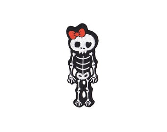 Skeleton Patch - Skeleton with Bow  Embroidered Iron on Patch  - Skull  Iron on Applique