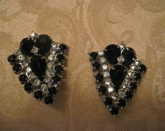 Black and clear rhinestone art  deco Earrings  Clip Vintage-50% off sale