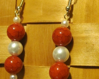 Red and Pearl Arylic Earrings
