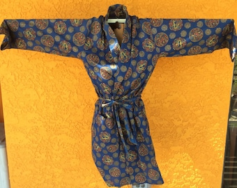 Vintage chinoiserie dragon robe kimono dressing gown bathrobe